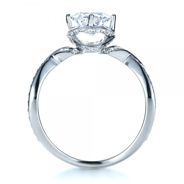 Custom Split Shank Diamond Engagment Ring - Finger Through View
