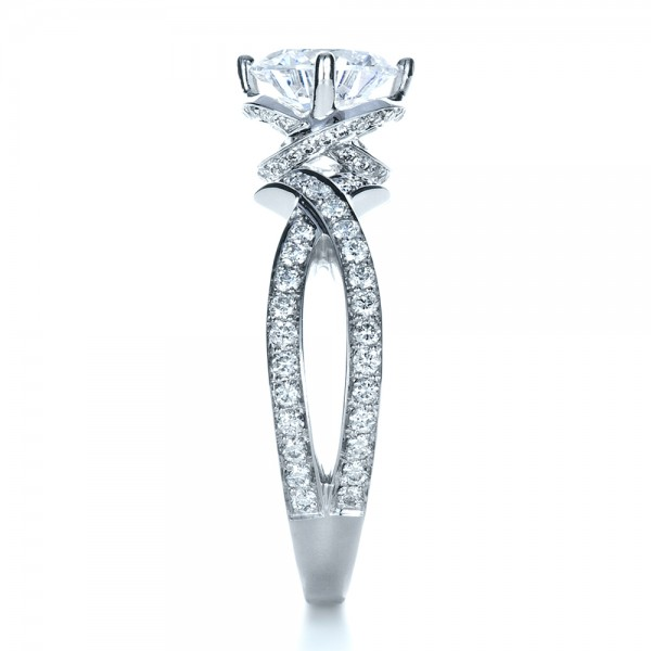 Custom Split Shank Diamond Engagment Ring - Side View