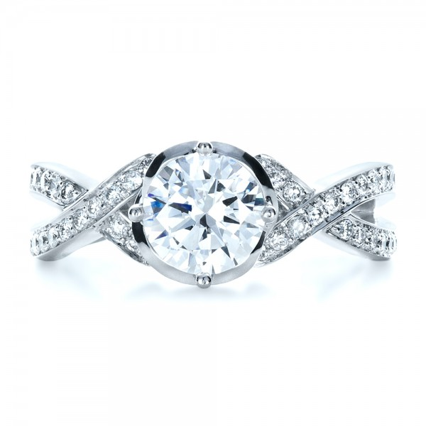 Custom Split Shank Diamond Engagment Ring - Top View