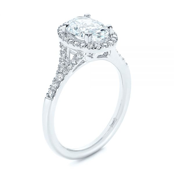 Custom Split Shank Diamond Halo Engagement Ring - Image