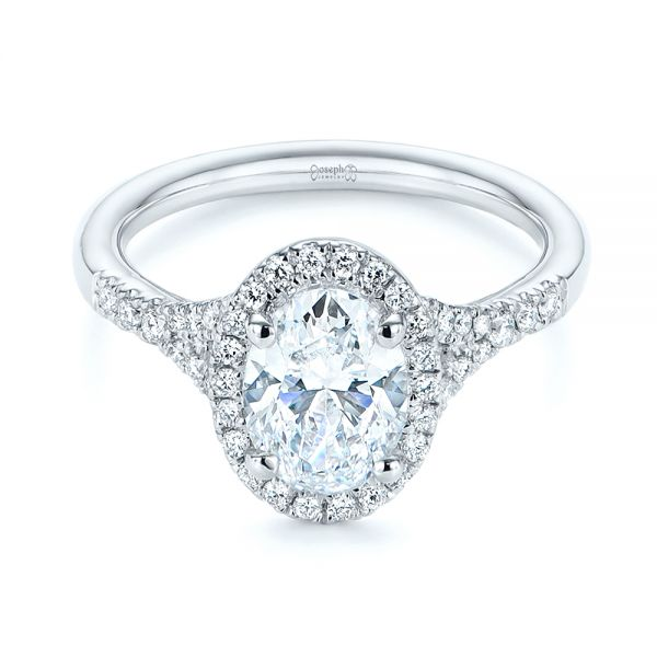 14k White Gold Custom Split Shank Diamond Halo Engagement Ring - Flat View -  105862