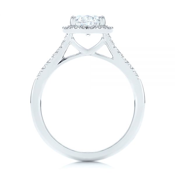 14k White Gold Custom Split Shank Diamond Halo Engagement Ring - Front View -  105862