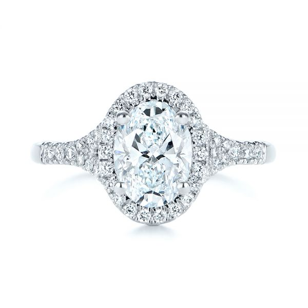14k White Gold Custom Split Shank Diamond Halo Engagement Ring - Top View -  105862