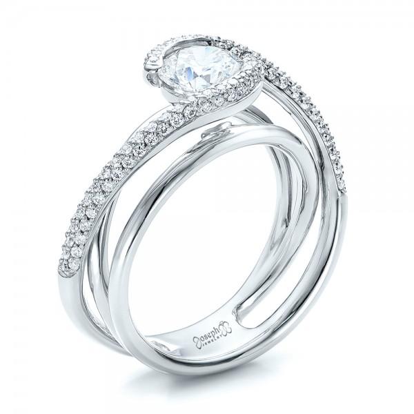 Custom Split Shank Pave Diamond Engagement Ring