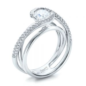 Custom Split Shank Pave Diamond Engagement Ring - Image