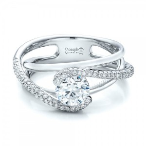 Custom Split Shank Pave Diamond Engagement Ring