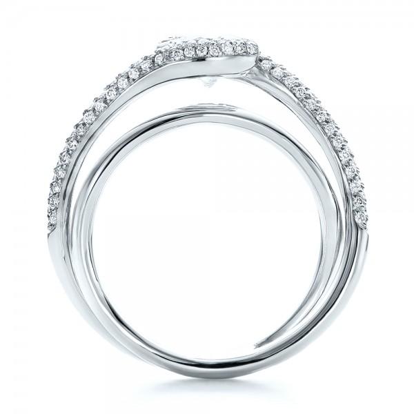 Custom Split Shank Pave Diamond Engagement Ring - Finger Through View