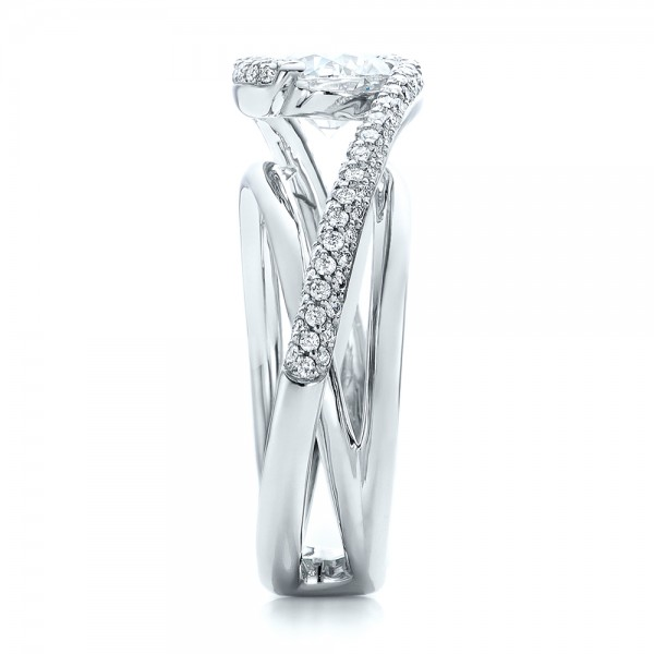 Custom Split Shank Pave Diamond Engagement Ring - Side View