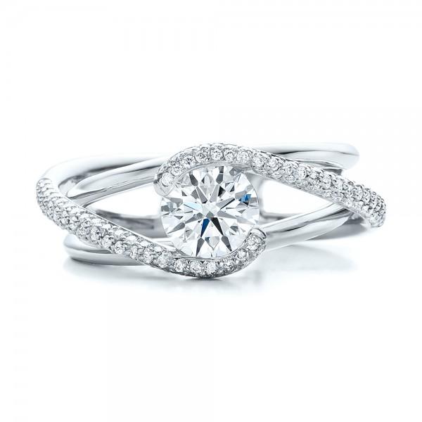 Custom Split Shank Pave Diamond Engagement Ring 100885