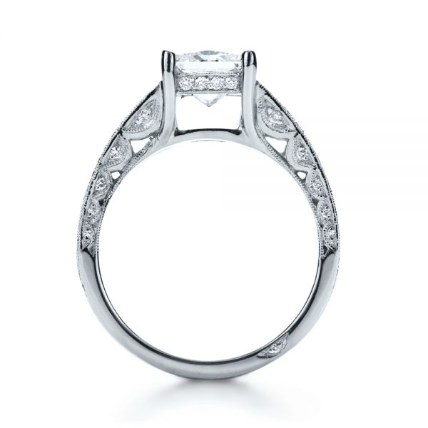14k White Gold Custom Split Shank Princess Cut Engagement Ring - Front View -