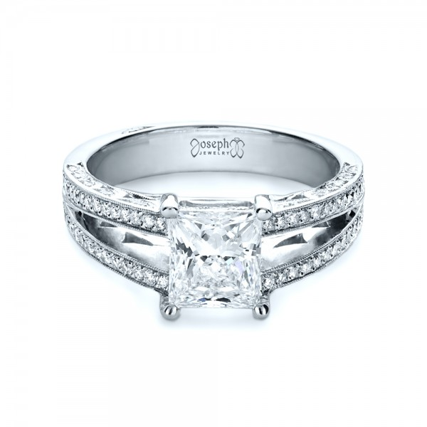 custom split shank princess cut engagement ring 1132 - Wedding Rings Princess Cut