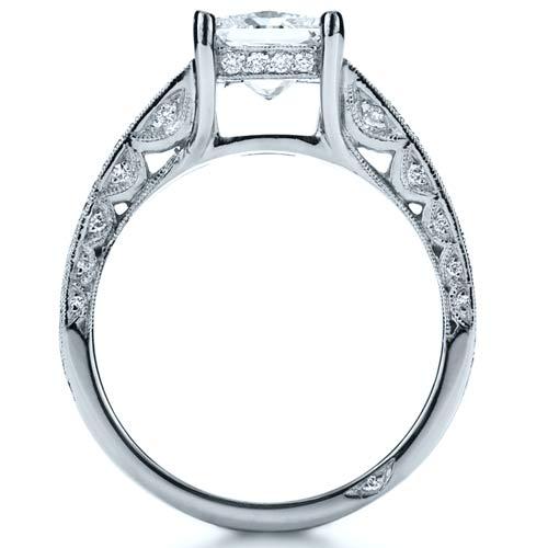 Custom Split Shank Princess Cut Engagement Ring - Finger Through View