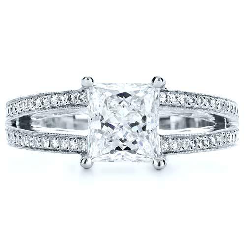 Custom Split Shank Princess Cut Engagement Ring - Top View