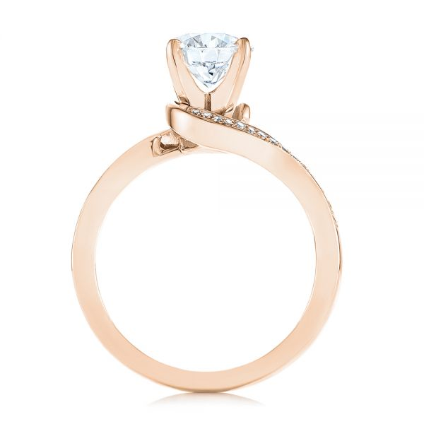 14K Rose Gold Custom Swirled Wrap Diamond Engagement Ring - Front View -  105120 - Thumbnail