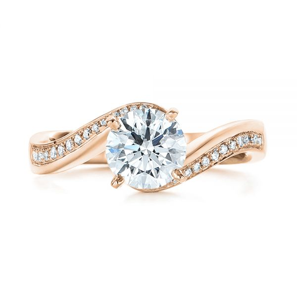 14K Rose Gold Custom Swirled Wrap Diamond Engagement Ring - Top View -  105120 - Thumbnail