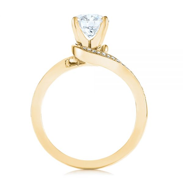 18K Yellow Gold Custom Swirled Wrap Diamond Engagement Ring - Front View -  105120 - Thumbnail