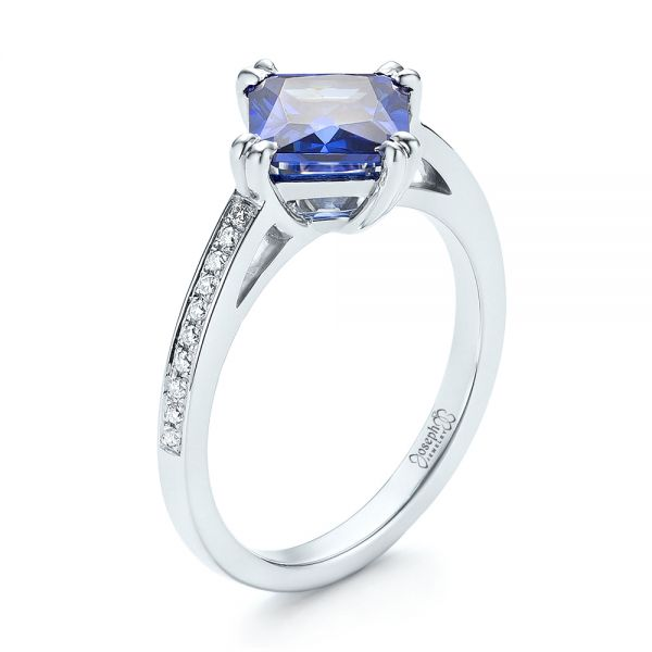 Custom Tanzanite and Diamond Engagement Ring - Image