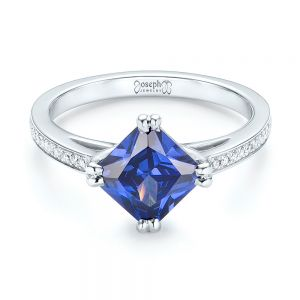 Custom Tanzanite and Diamond Engagement Ring