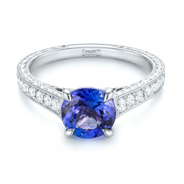 Custom Tanzanite and Diamond Engagement Ring - Laying View