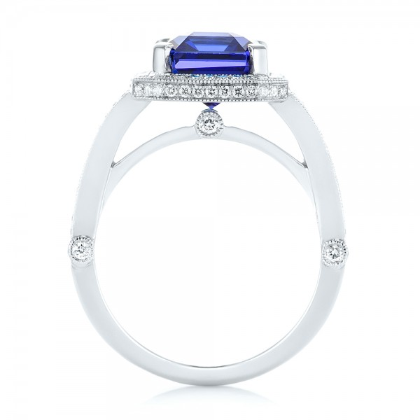 Custom Tanzanite and Diamond Engagement Ring - Finger Through View