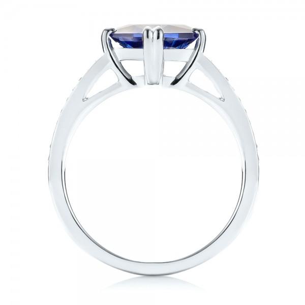 Custom Tanzanite and Diamond Engagement Ring - Finger Through View