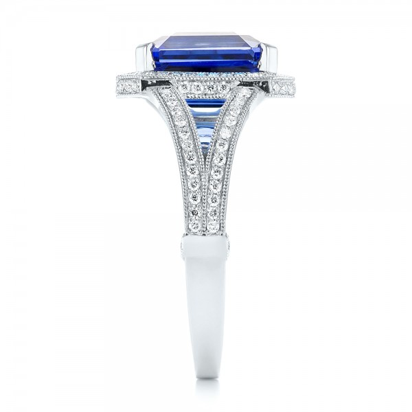 Custom Tanzanite and Diamond Engagement Ring - Side View
