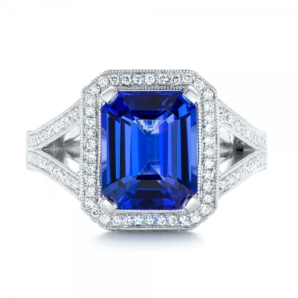 Custom Tanzanite and Diamond Engagement Ring - Top View