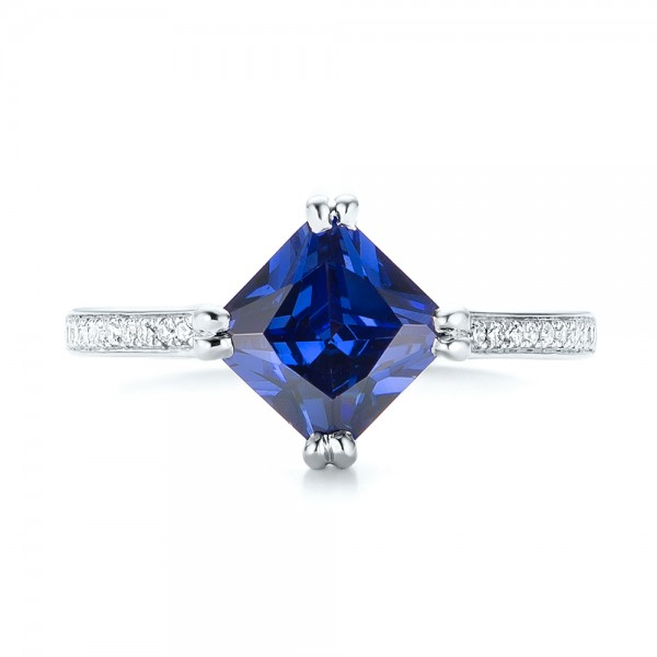 Custom Tanzanite and Diamond Engagement Ring - Top View