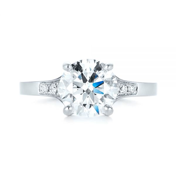 Custom Tapering Diamond Engagement Ring - Top View -  103339 - Thumbnail