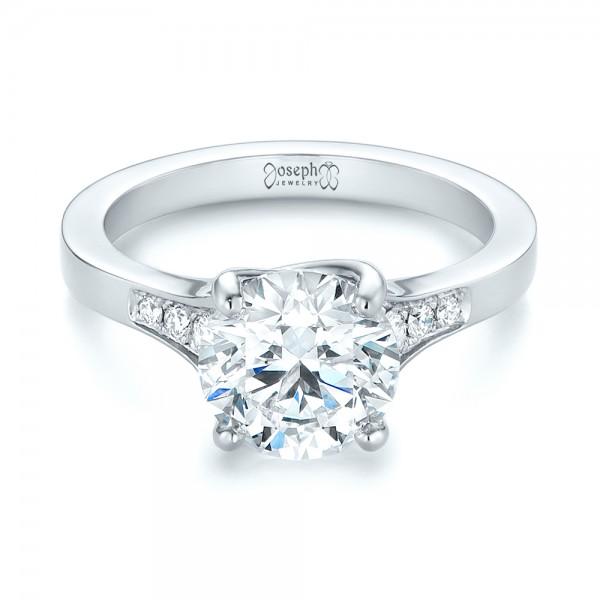 Custom Tapering Diamond Engagement Ring - Laying View