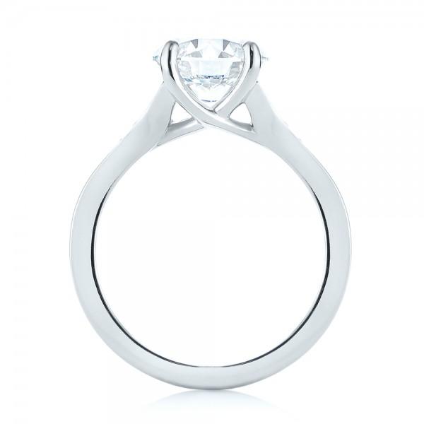 Custom Tapering Diamond Engagement Ring - Finger Through View
