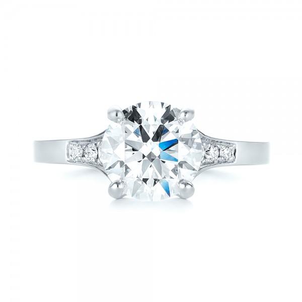 Custom Tapering Diamond Engagement Ring - Top View
