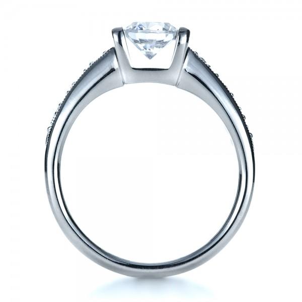 Custom Tension Set Diamond Engagement Ring - Finger Through View