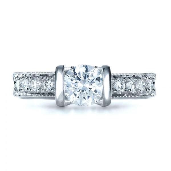 Custom Tension Set Diamond Engagement Ring - Top View
