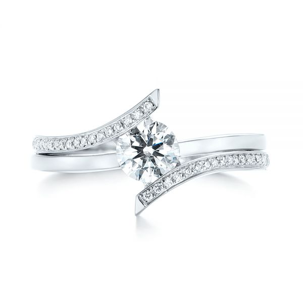 Custom Tension Style Diamond Engagement Ring - Top View -  103305 - Thumbnail