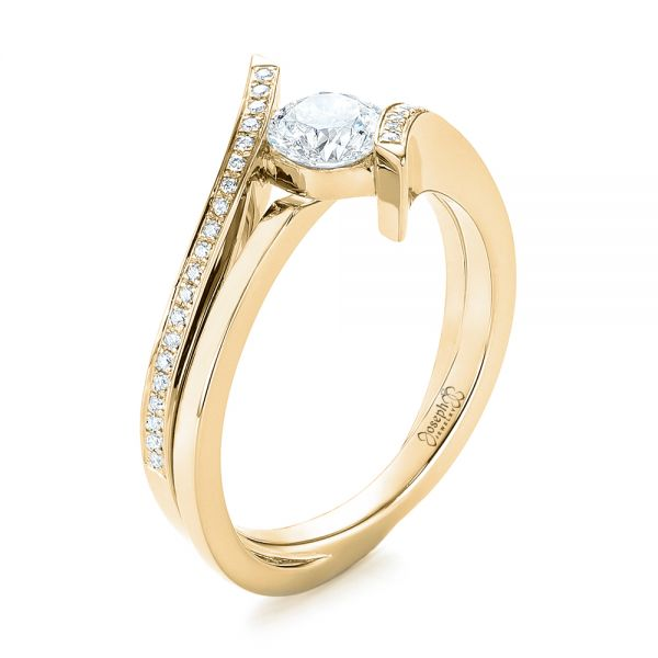Engagement Rings Jewellery Quarter: 14k Yellow Gold Custom Tension Style Diamond Engagement