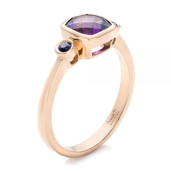 Custom Three Stone Amethyst and Sapphire Engagement Ring
