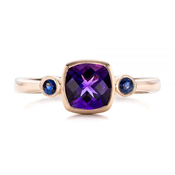 Custom Three Stone Amethyst and Sapphire Engagement Ring - Image