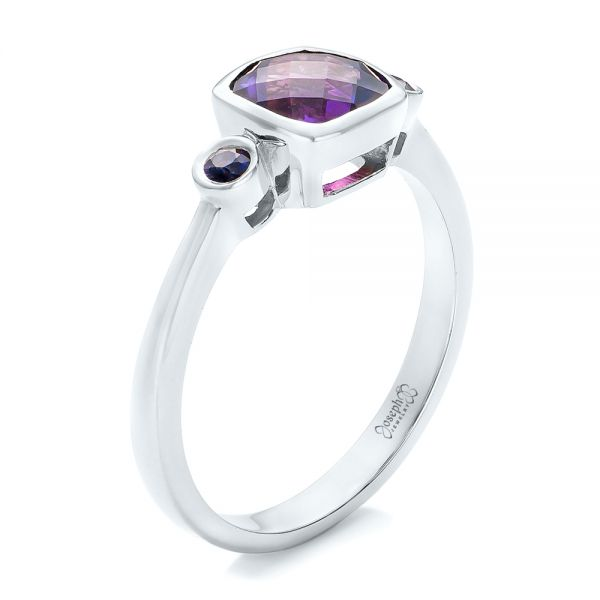 14k White Gold 14k White Gold Custom Three Stone Amethyst And Sapphire Engagement Ring - Three-Quarter View -  102142