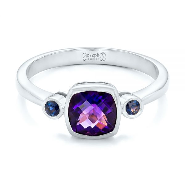 14k White Gold 14k White Gold Custom Three Stone Amethyst And Sapphire Engagement Ring - Flat View -  102142