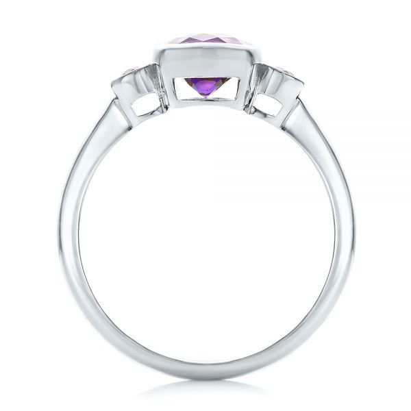 14k White Gold 14k White Gold Custom Three Stone Amethyst And Sapphire Engagement Ring - Front View -  102142