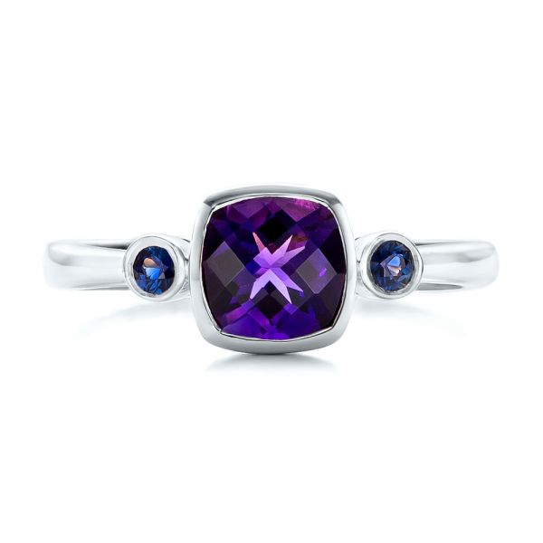 14k White Gold 14k White Gold Custom Three Stone Amethyst And Sapphire Engagement Ring - Top View -  102142