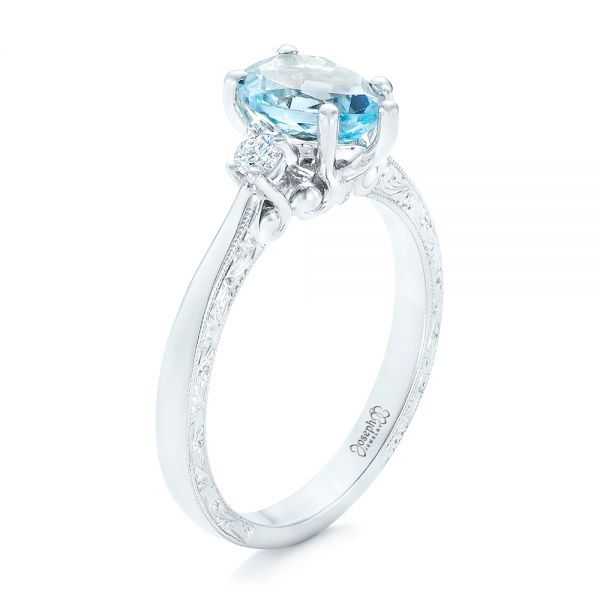 Custom Three Stone Aquamarine and Diamond Engagement Ring - Image