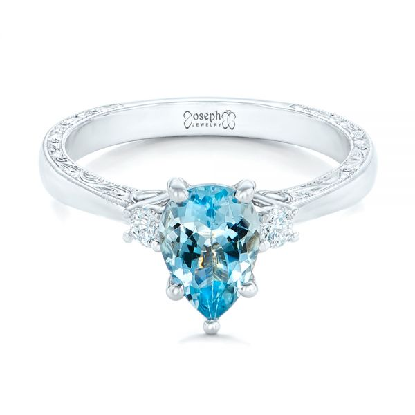 Custom Three Stone Aquamarine and Diamond Engagement Ring - Flat View -  102548 - Thumbnail