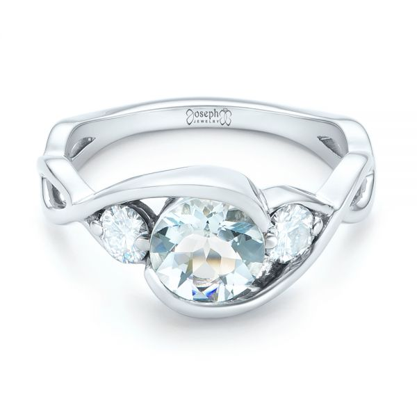 Custom Three Stone Aquamarine and Diamond Engagement Ring - Flat View -  102989 - Thumbnail