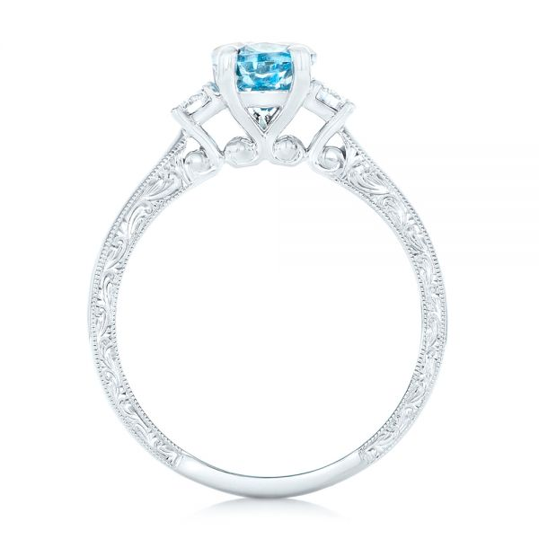Custom Three Stone Aquamarine and Diamond Engagement Ring - Front View -  102548 - Thumbnail