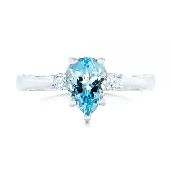 Custom Three Stone Aquamarine and Diamond Engagement Ring - Top View -  102548 - Thumbnail