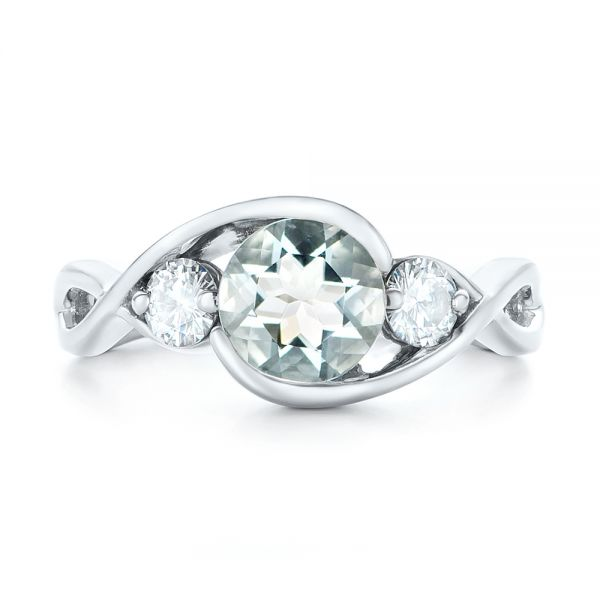 Custom Three Stone Aquamarine and Diamond Engagement Ring - Top View -  102989 - Thumbnail