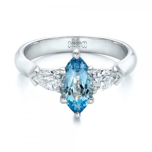 Custom Three Stone Aquamarine and Diamond Engagement Ring