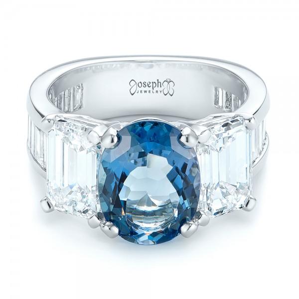 Custom Three Stone Aquamarine and Diamond Engagement Ring - Laying View